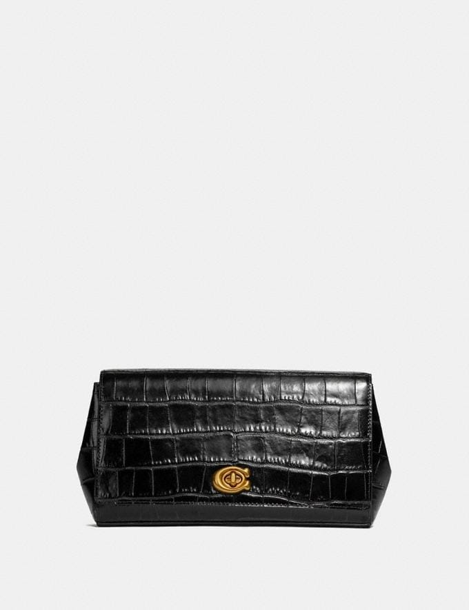 Coach Alexa Turnlock Clutch Black/Brass Women Handbags