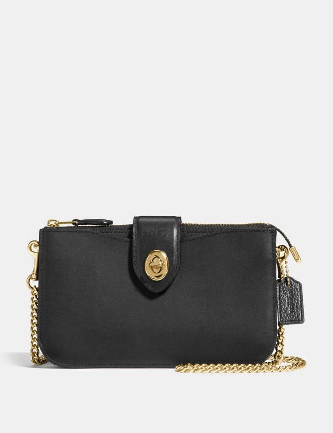 Coach Turnlock Crossbody Black/Gold CYBER MONDAY SALE Women's Sale Wallets & Wristlets
