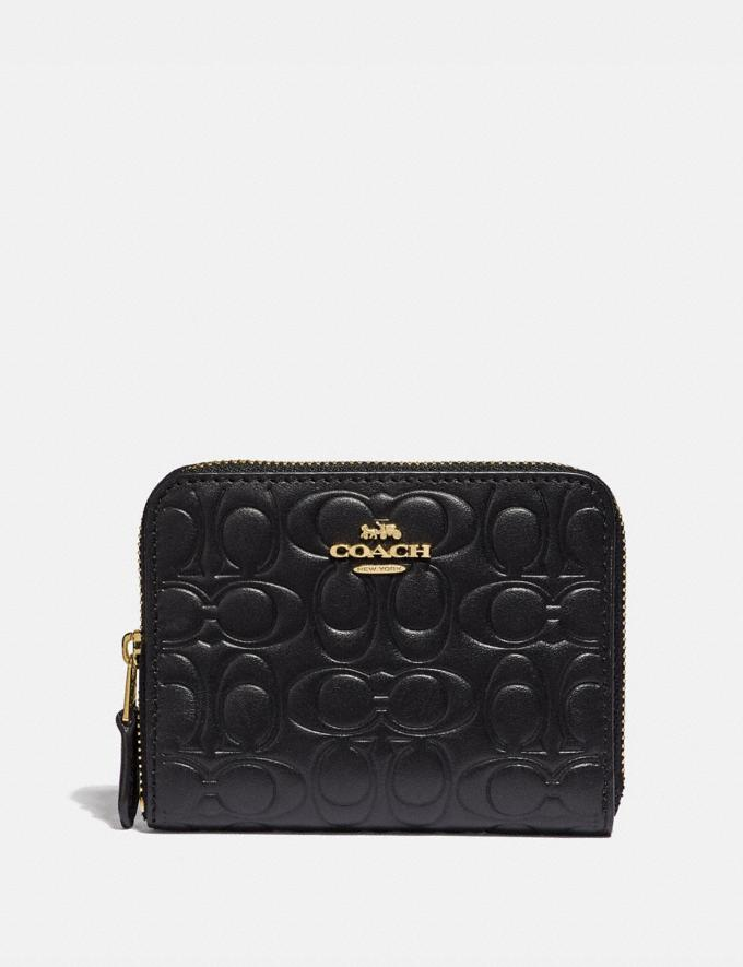 Coach Small Zip Around Wallet in Signature Leather Black/Gold New Featured Signature Styles