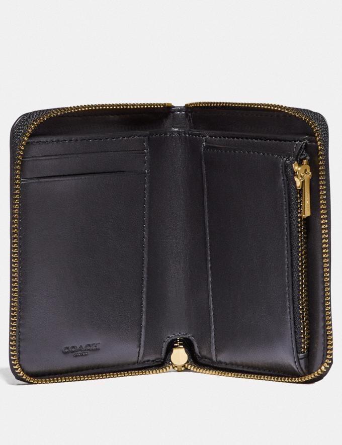 Coach Small Zip Around Wallet in Signature Leather Black/Gold Gifts For Her Under $100 Alternate View 1