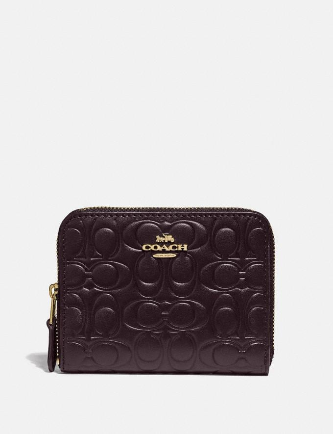 Coach Small Zip Around Wallet in Signature Leather Gold/Oxblood