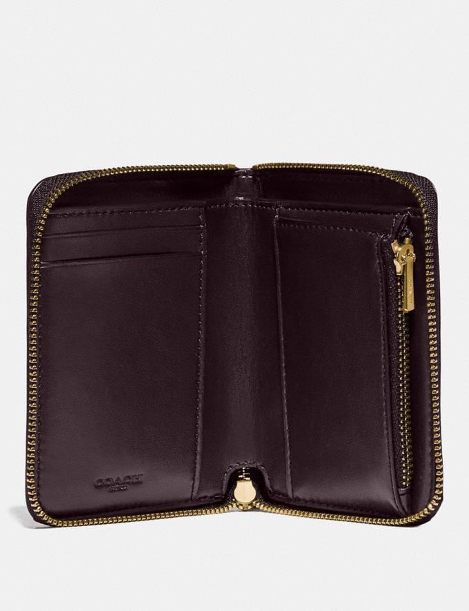 Coach Small Zip Around Wallet in Signature Leather Gold/Oxblood  Alternate View 1
