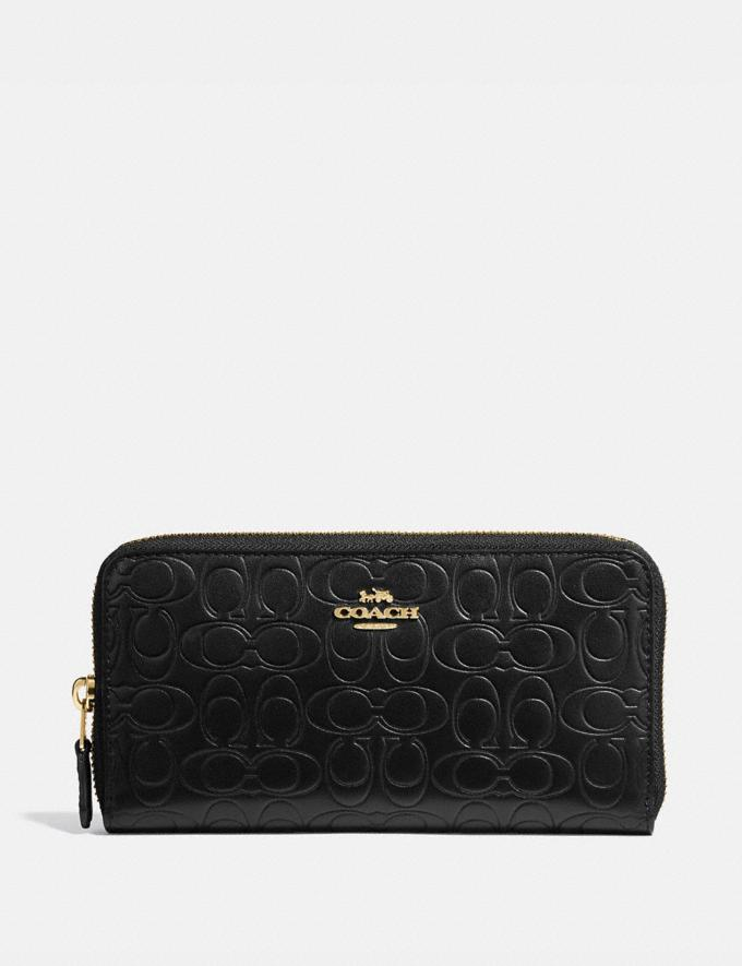 Coach Accordion Zip Wallet in Signature Leather Black/Gold Women Small Leather Goods Large Wallets