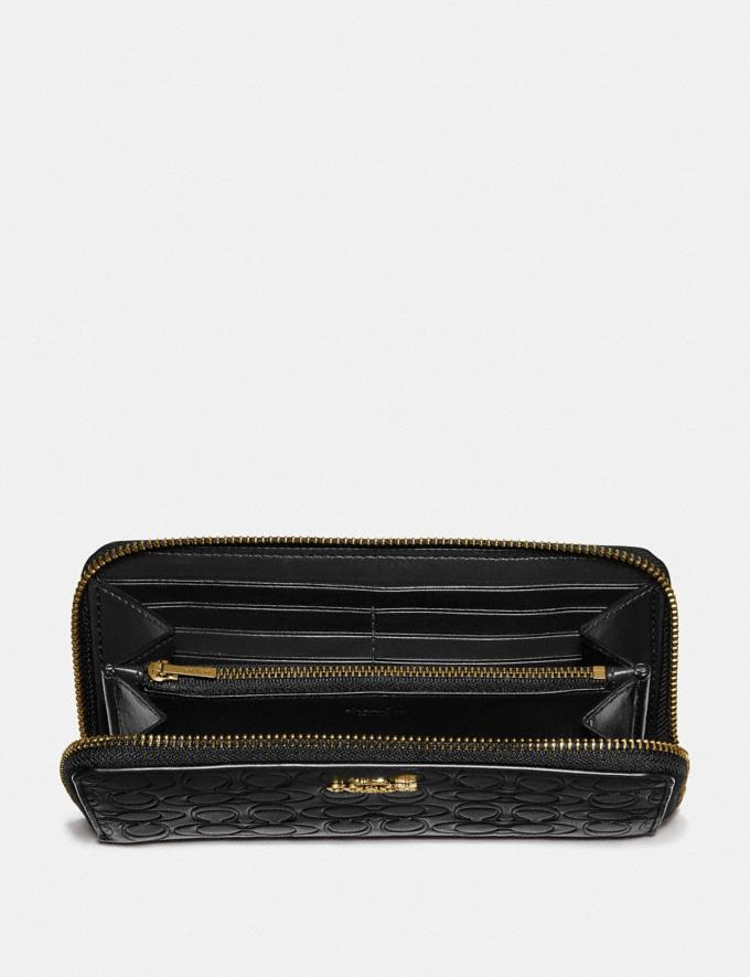 Coach Accordion Zip Wallet in Signature Leather Black/Gold Women Small Leather Goods Large Wallets Alternate View 1