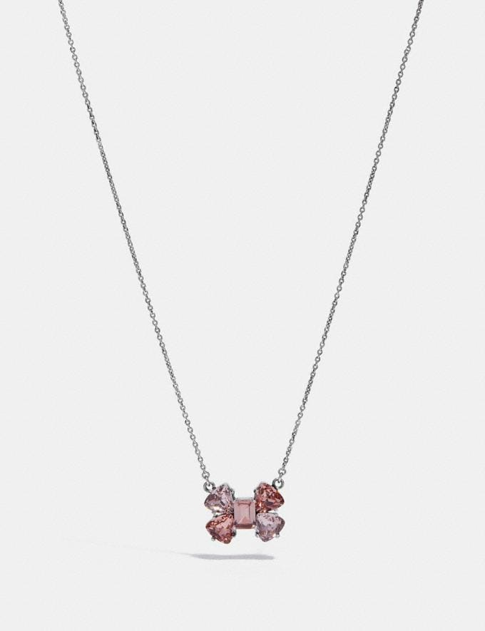 Coach Crystal Bow Necklace Peach/Silver Women Accessories Jewelry Necklaces