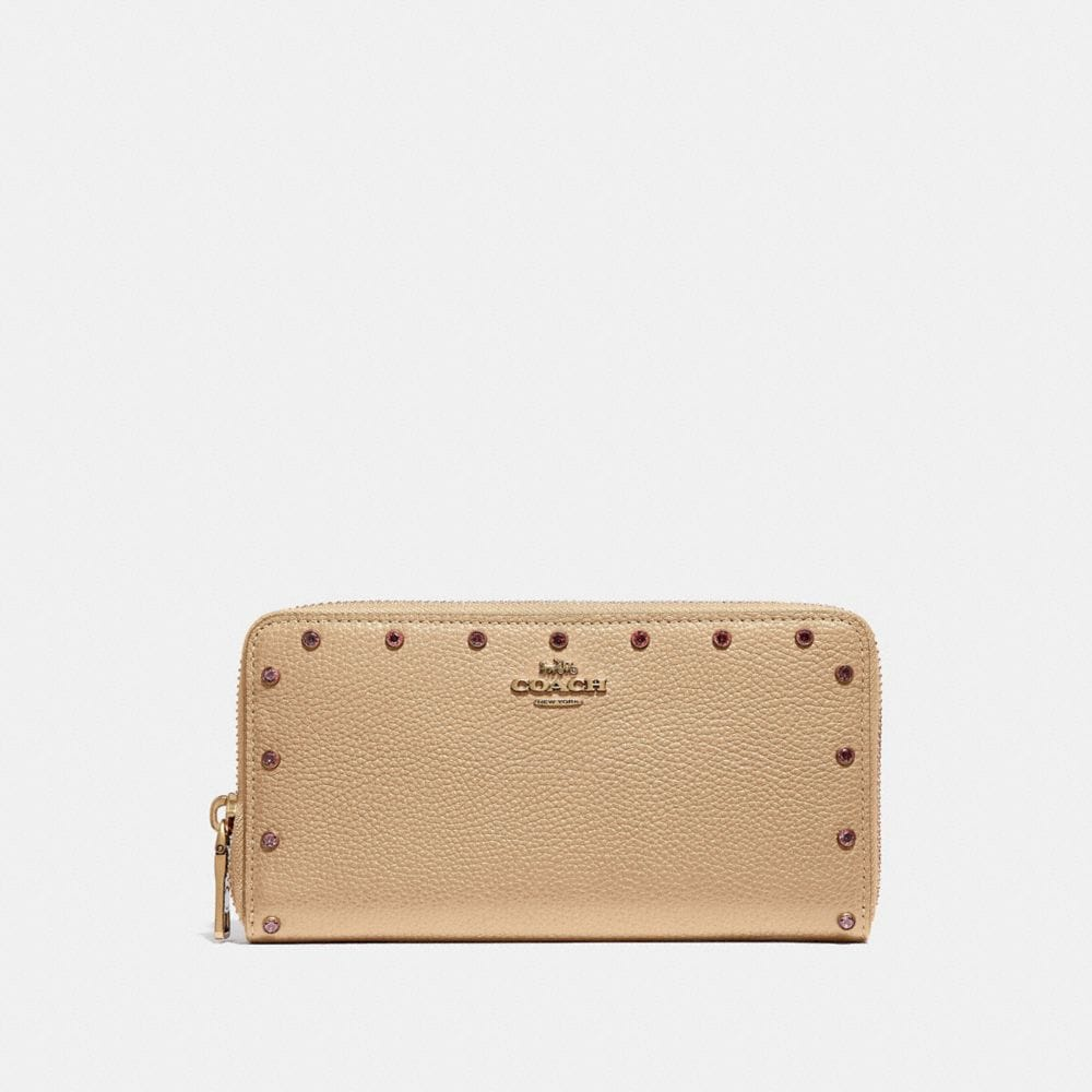 Coach Accordion Zip Wallet With Crystal Rivets