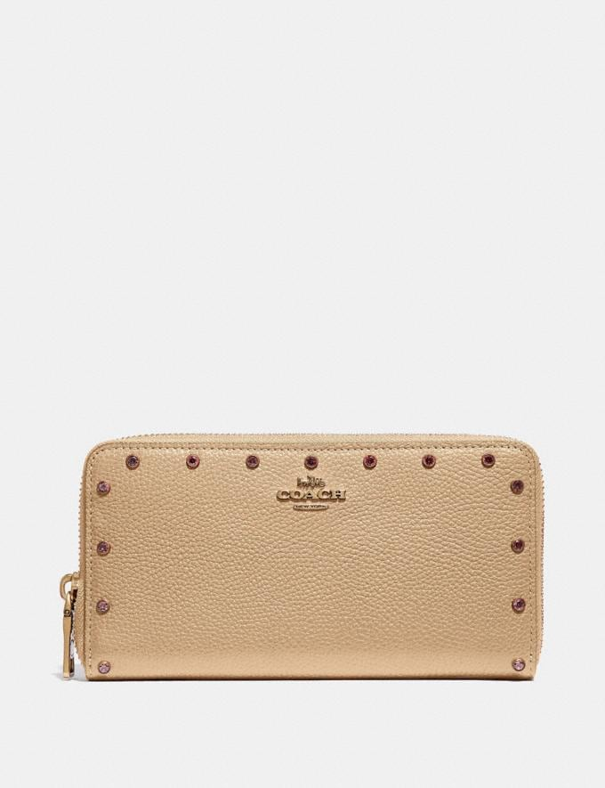 Coach Accordion Zip Wallet With Crystal Rivets Nude Pink/Brass Women Small Leather Goods Large Wallets