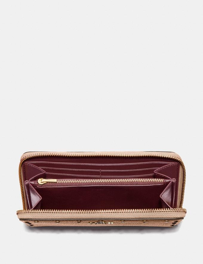 Coach Accordion Zip Wallet With Crystal Rivets Nude Pink/Brass Women Small Leather Goods Large Wallets Alternate View 1