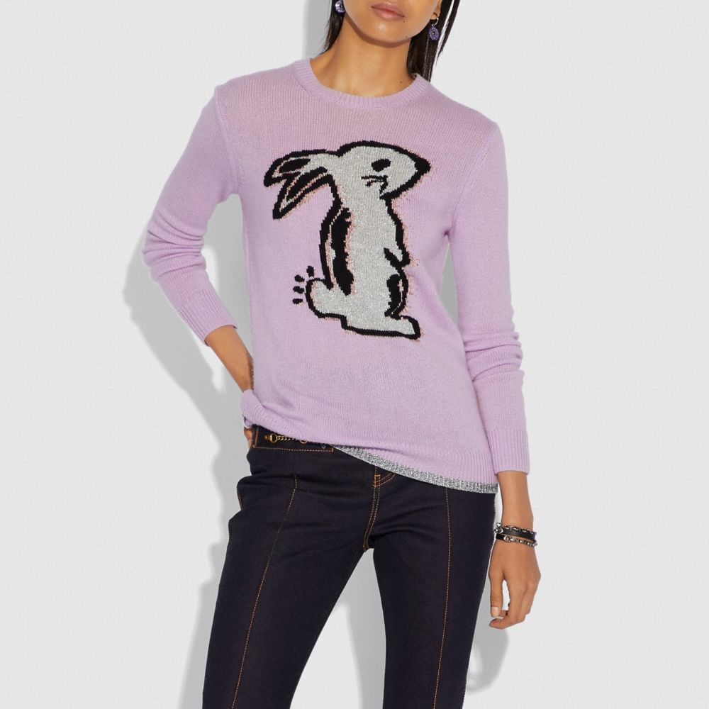 Coach Selena Bunny Intarsia Sweater Alternate View 1