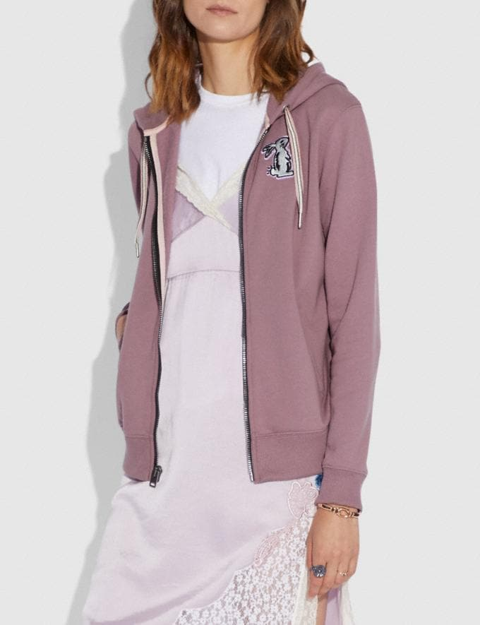 Coach Selena Bunny Hoodie Dark Lilac SALE Women's Sale Ready-to-Wear Alternate View 1