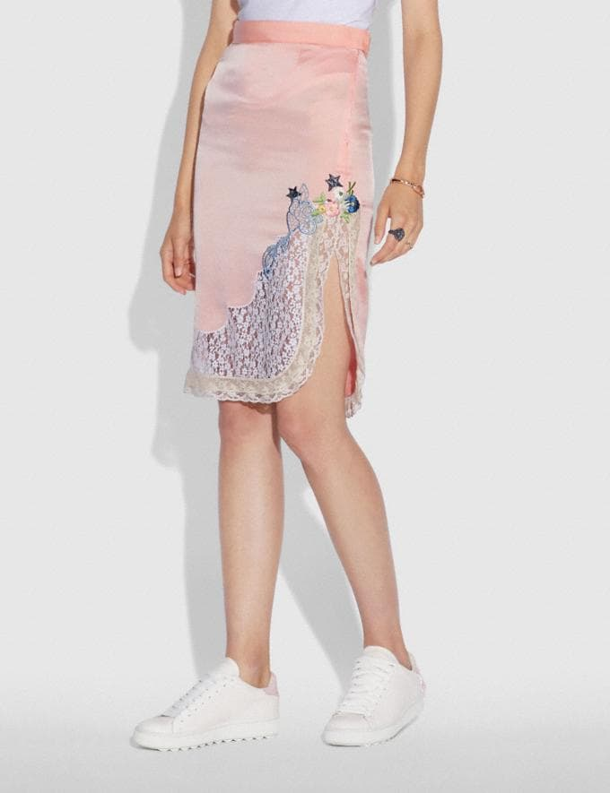 Coach Selena Lace Detail Skirt Pajama Pink New Featured Selena Gomez in Coach Alternate View 1