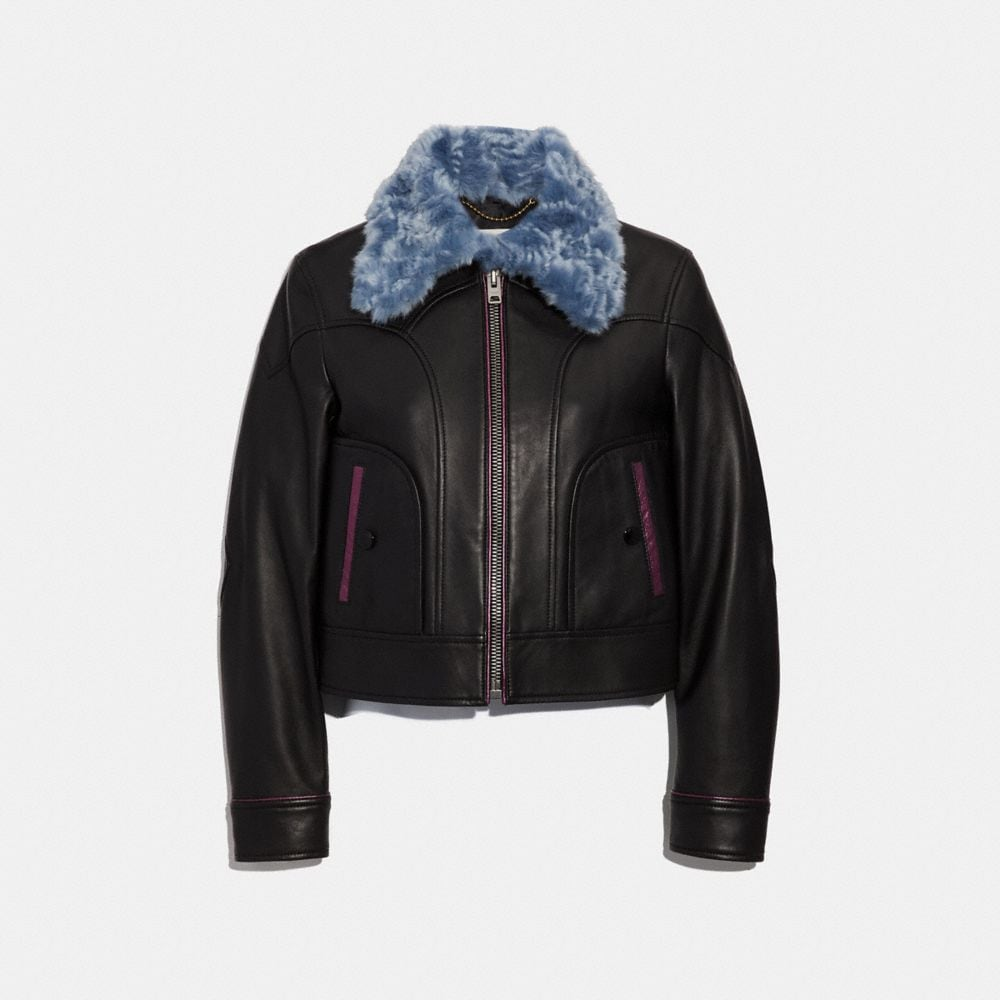 selena leather jacket with faux fur