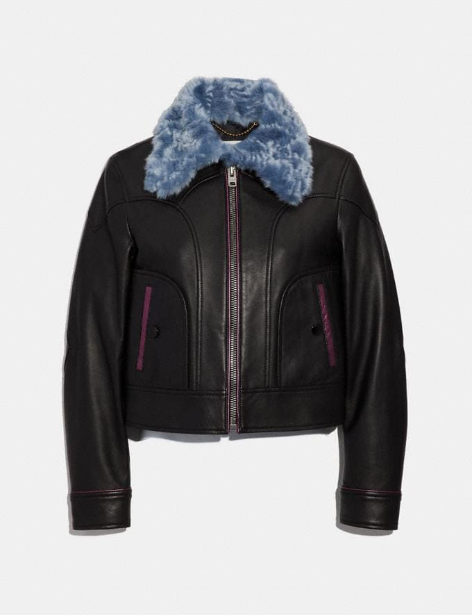 Coach Selena Leather Jacket With Faux Fur Black SALE Women's Sale Ready-to-Wear