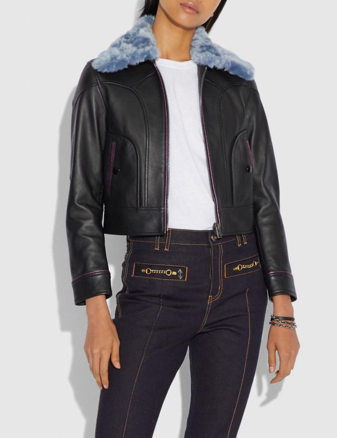 Coach Selena Leather Jacket With Faux Fur Black SALE Women's Sale Ready-to-Wear Alternate View 1