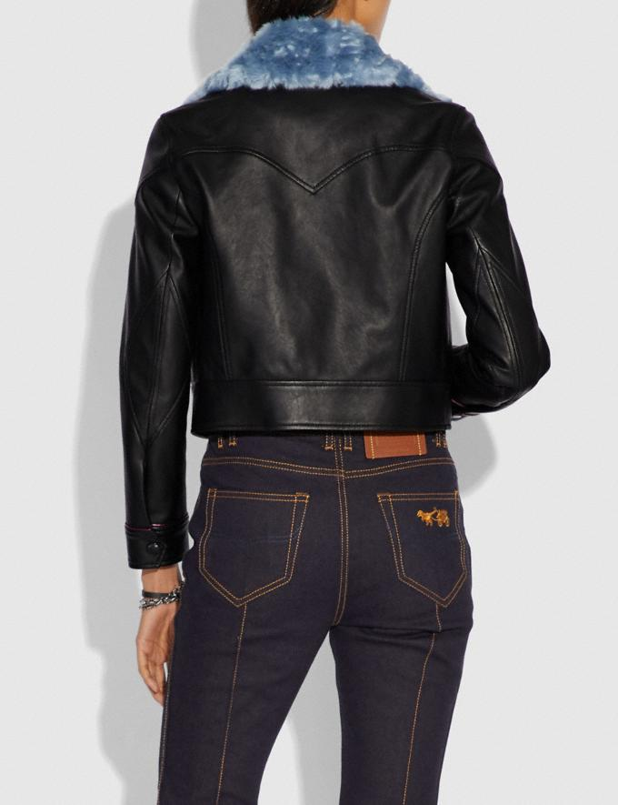 Coach Selena Leather Jacket With Faux Fur Black SALE Women's Sale Ready-to-Wear Alternate View 3