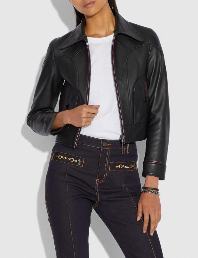 Coach Selena Leather Jacket With Faux Fur Black SALE Women's Sale Ready-to-Wear Alternate View 4