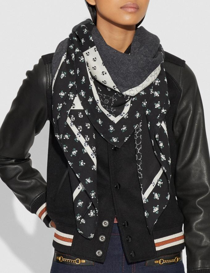 Coach Signature Patchwork Oversized Square Black Women Accessories Hats Scarves and Gloves Alternate View 1
