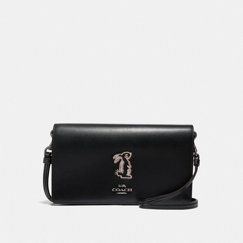 SELENA HAYDEN FOLDOVER CROSSBODY CLUTCH WITH BUNNY