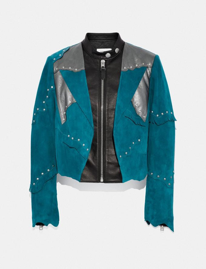 Coach Pieced Suede Racer Blazer Deep Turquoise Women Ready-to-Wear Coats & Jackets