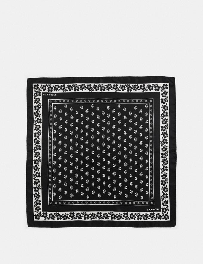 Coach Lily of the Valley Silk Bandana Black Women Accessories Scarves