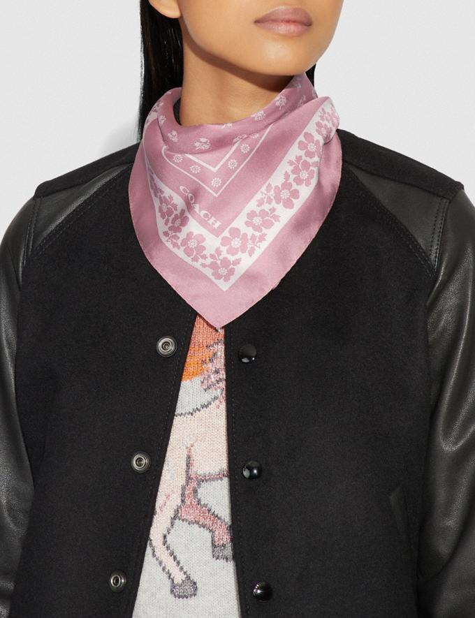 Coach Lily of the Valley Silk Bandana Pink Women Accessories Scarves Alternate View 1