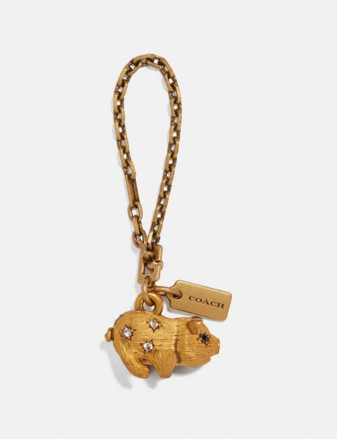 Coach Jeweled Pig Bag Charm Brass/Brass Women Accessories Bag Charms