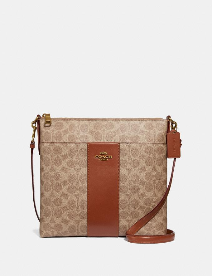 Coach Kitt Messenger Crossbody 26 in Colorblock Signature Canvas Brass/Tan Rust Gifts For Her Under $300