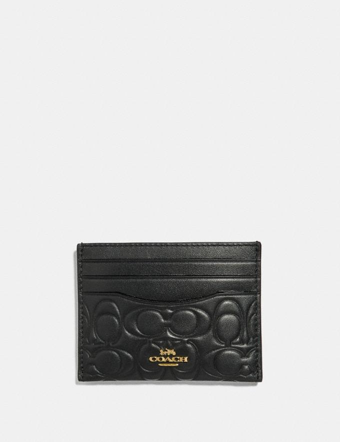 Coach Card Case in Signature Leather Black/Gold Women Collection Signature