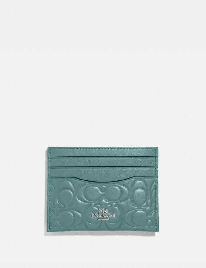 Coach Card Case in Signature Leather Sage/Silver Women Wallets & Wristlets Small Wallets