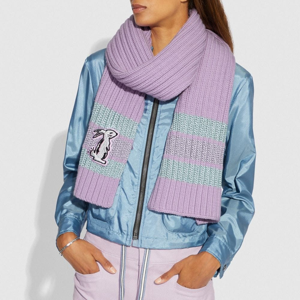 Coach Selena Knit Scarf With Bunny Alternate View 1