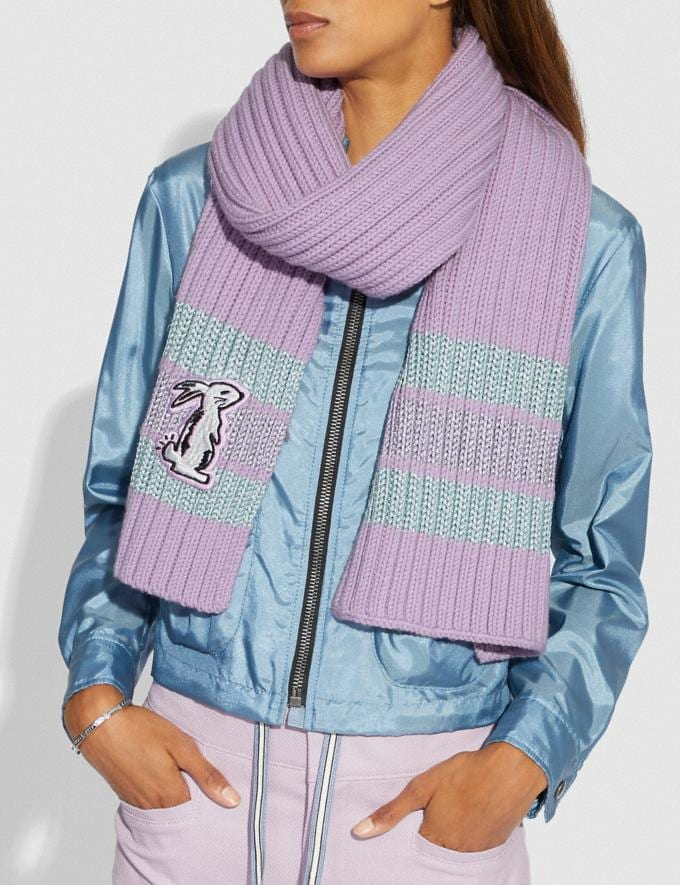 Coach Selena Knit Scarf With Bunny Lilac SALE Women's Sale Accessories Alternate View 1