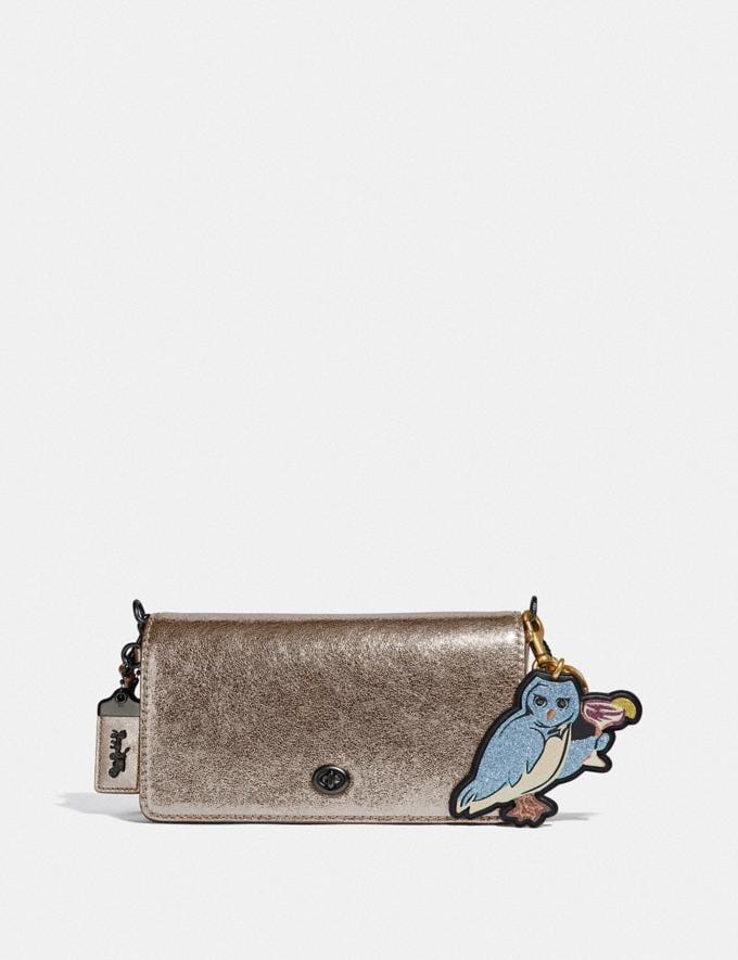 Coach Party Owl Bag Charm Black/Light Gold  Alternate View 1