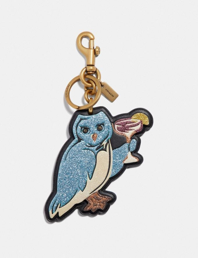 Coach Party Owl Bag Charm Black/Light Gold Women Accessories Bag Charms
