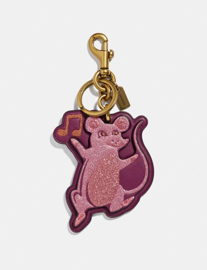 Coach Party Mouse Bag Charm Dark Berry/Brass