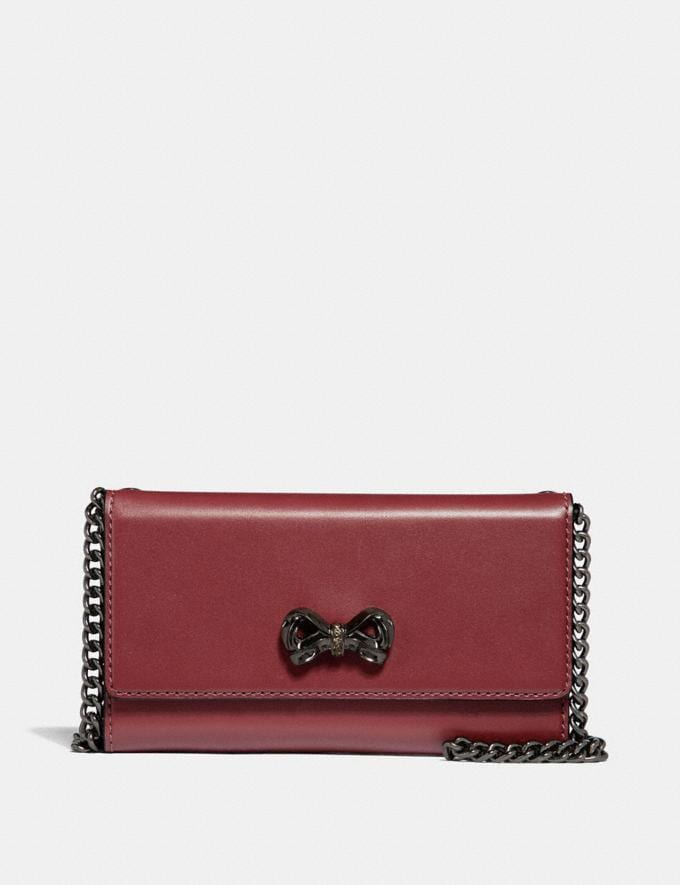 Coach Selena Trifold Phone Case With Crystal Embellishment Dark Gunmetal/Wine SALE Women's Sale Accessories