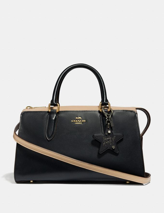 Coach Selena Star Bag Charm Black/Light Gold Women Accessories Bag Charms & Key Rings Alternate View 1