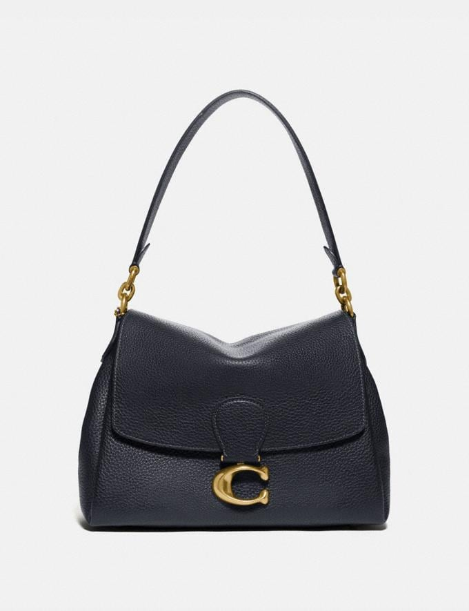 Coach May Shoulder Bag Brass/Midnight Navy Women Bags Shoulder Bags