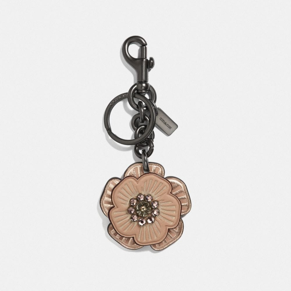crystal tea rose bag charm
