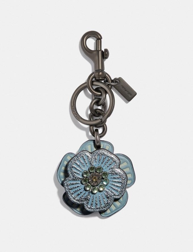 Coach Crystal Tea Rose Bag Charm Metallic Light Blue/Dark Gunmetal Gifts For Her Valentine's Day Gifts