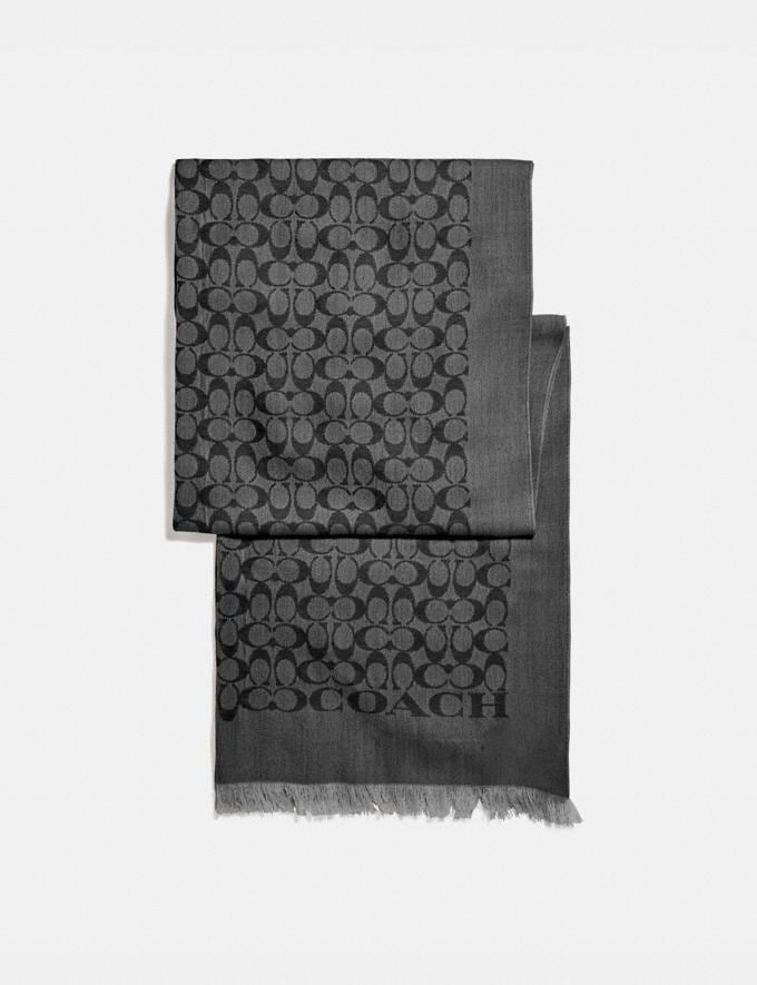 Coach Signature Stole Black Women Accessories Scarves