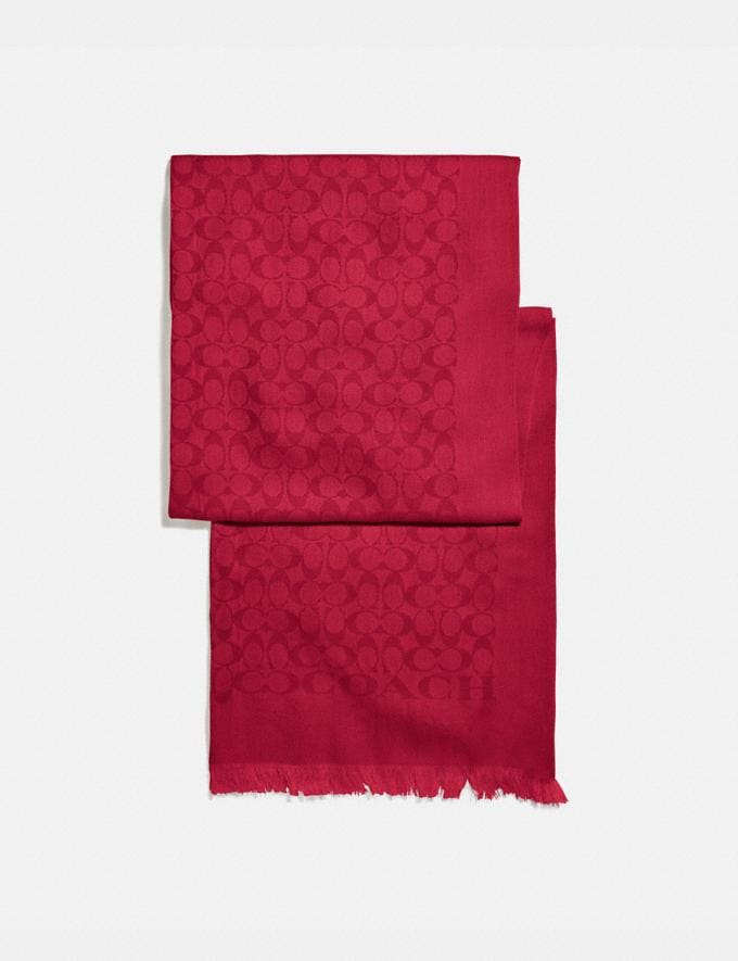 Coach Signature Bicolor Stole True Red Women Accessories Scarves and Gloves