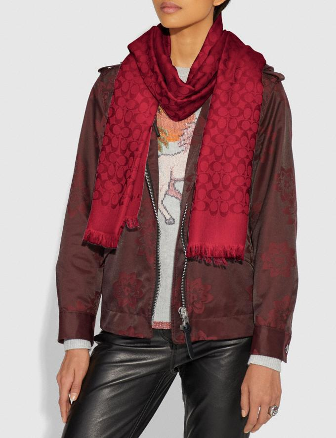 Coach Signature Bicolor Stole True Red Women Accessories Scarves and Gloves Alternate View 1