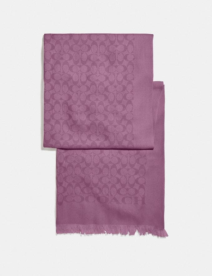 Coach Signature Bicolor Stole Lilac Berry Women Accessories Scarves & Gloves