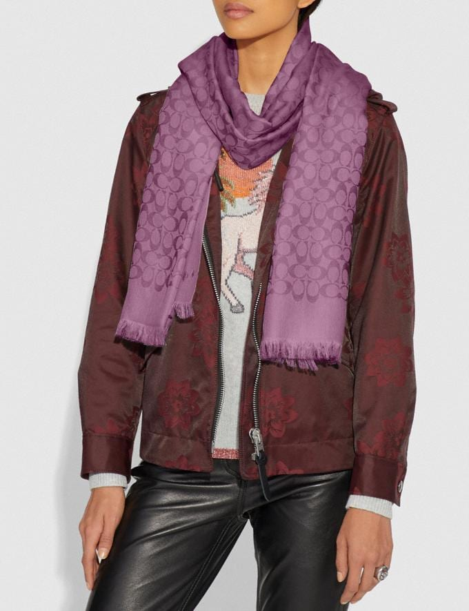 Coach Signature Bicolor Stole Lilac Berry Women Accessories Scarves & Gloves Alternate View 1