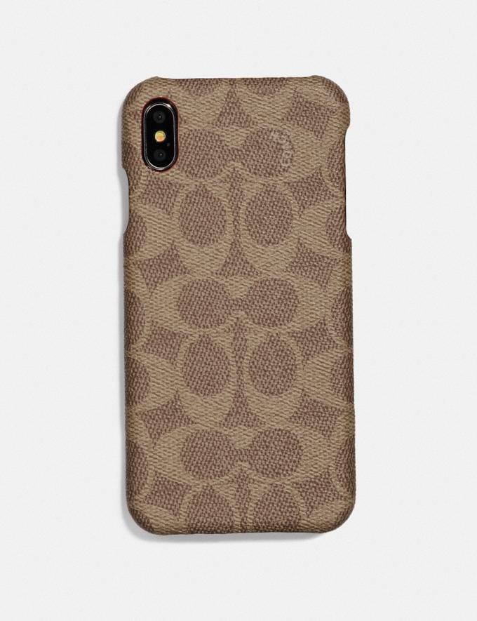 Coach Custodia per iPhone Xr in Tela Signature Cachi Donna Accessori Accessori da viaggio