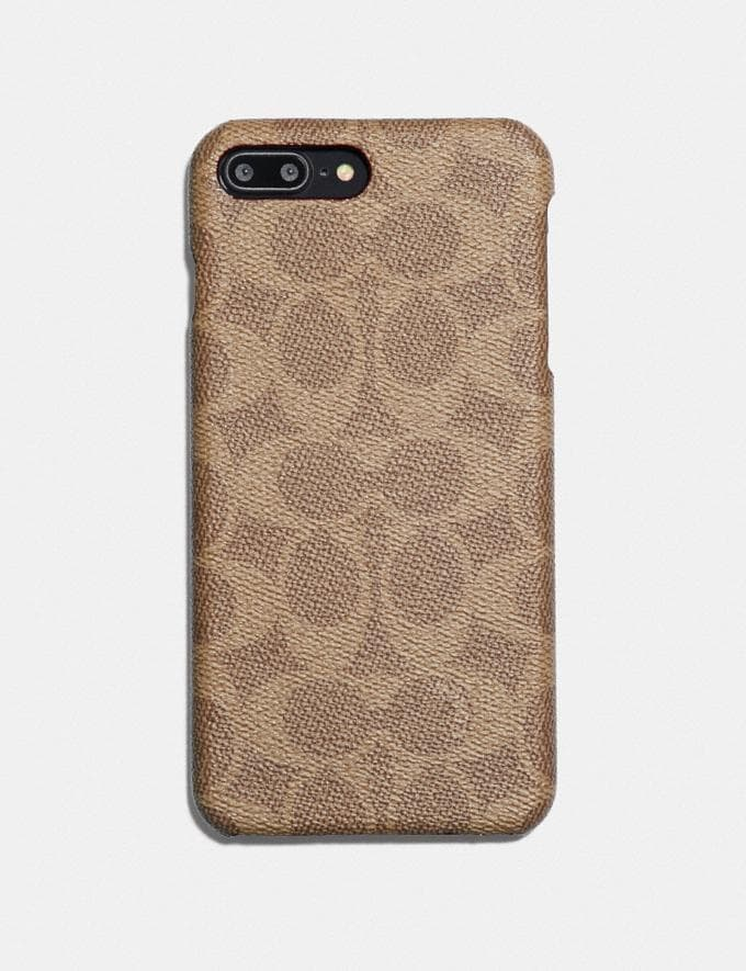 Coach iPhone 7 Plus/8 Plus Case in Signature Canvas Khaki Women Collection Signature