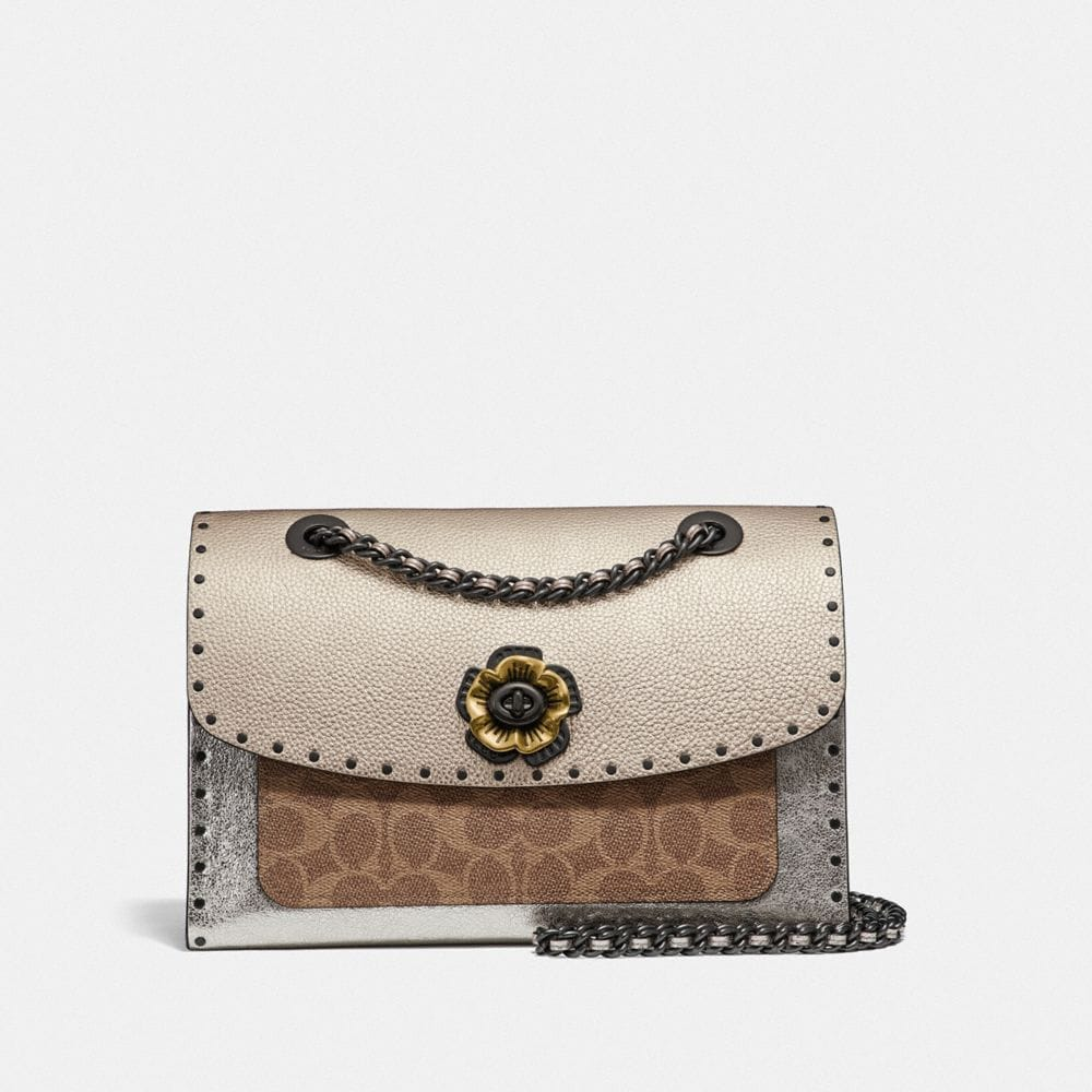 Coach Parker in Signature Canvas With Rivets and Snakeskin Detail