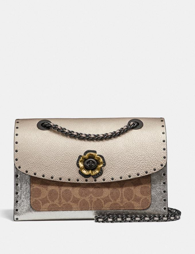 Coach Parker in Signature Canvas With Rivets and Snakeskin Detail Tan/Platinum/Pewter Women Bags