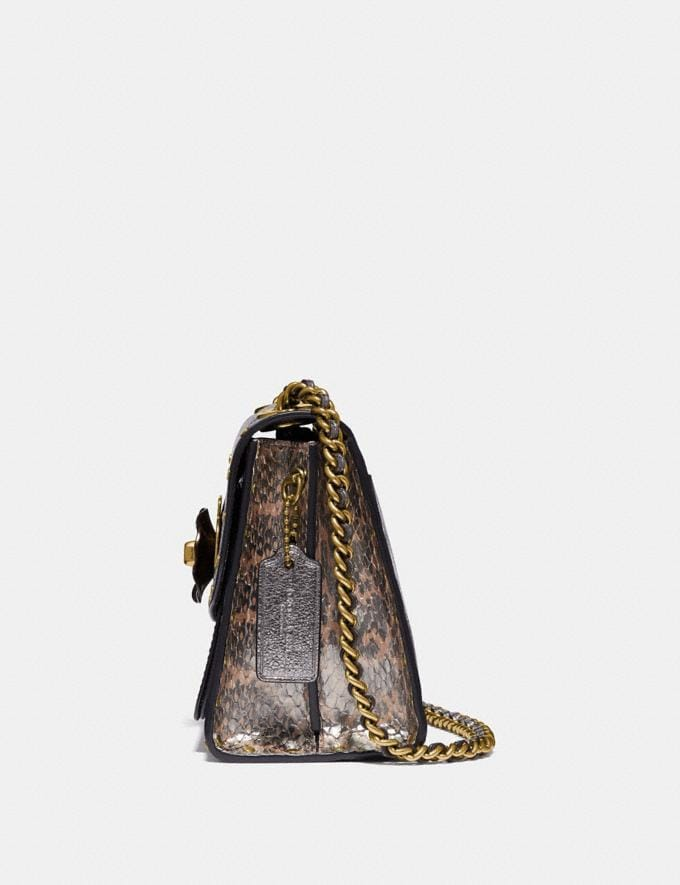 Coach Parker 18 in Signature Canvas With Rivets and Snakeskin Detail Charcoal/Metallic Graphite/Brass Women Handbags Crossbody Bags Alternate View 1