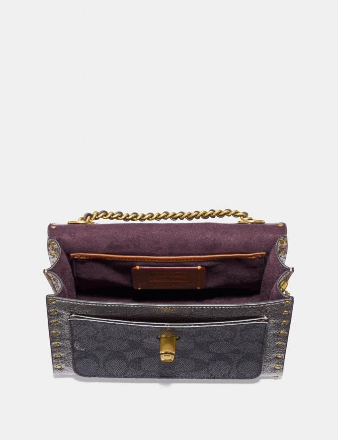 Coach Parker 18 in Signature Canvas With Rivets and Snakeskin Detail Charcoal/Metallic Graphite/Brass Women Handbags Crossbody Bags Alternate View 2